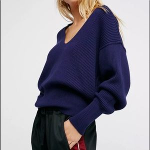 Free people allure navy v neck ribbed sweater
